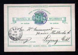1895 - 30 R. Ganzsache Ab QUELIMANE Nach Leipzig - Mozambique