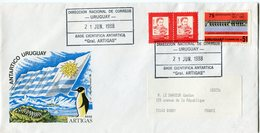 """URUGUAY ENVELOPPE BASE CIENTIFICA ANTARTICA """"GRAL; ARTIGAS"""" AVEC OBLITERATION DU 21 JUN 1988 - Forschungsprogramme"""