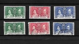 Cayman Islands KGVI 1937 Coronation, Complete Set LMM & Used (7028) - Cayman Islands