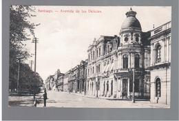 CHILE Santiago Avenida De Las Delicias Ca 1915 OLD POSTCARD 2 Scans - Cile