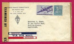 Enveloppe à Entête Du Comité De La France Combattante De Puerto Rico - Année 1944 - Guerre De 1939-45