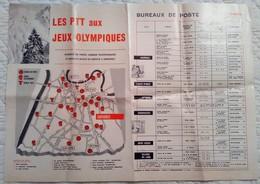 Xème Jeux Olympiques D'hiver 1968 Grenoble PTT Aux JO Dépliant Officiel Bureau X De Poste Temporaire S Affiche - Autres