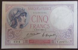 France - Billet 5 Francs Violet SPL Proche NEUF / UNC - 18-5-1925 - 1871-1952 Anciens Francs Circulés Au XXème