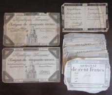 France - Lot De 18 Assignats De 50, 125 Livres Et 100 Francs - Vers 1790 / 1800 - Assignats & Mandats Territoriaux
