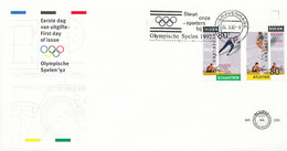 DC-1060 - FDC NETHERLANDS 1992 - E 290 OLYMPICS ROWING SKATING SHOT PUT SPEC. POSTMARK SUPPORT THE OLYMPICS - OPEN COVER - Rowing