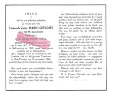 Z 361. E.Zuster MARIE-GREGOIRE Van Het H.Sacrament -T. HIRTZ - °BORBECK (DUITSLAND) 1877 / Saffraanberg/+ST-TRUIDEN 1966 - Images Religieuses