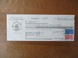TIMBRES FISCAUX D.A 60 FRANCS,5 FRANCS ET 10c SUR TRAITE ETS GARNIER-THIEBAUT GERARDMER VOSGES DU 7 OCTOBRE 1940 - Steuermarken