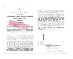 Z 364. E. Zuster MARIE FLORENTINE Van Het Kind Jezus - M. VERHULST - °HASSELT 1883 / +ST-TRUIDEN 1968 - Images Religieuses