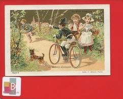 AU BON MARCHE PARIS  Jolie Chromo Or Gendarme Vélo Bicyclette Poursuite Voleur Paysan Campagne Lith Minot - Trade Cards