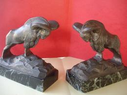 Paire De Serre-livre Bouquetins - Bronzes