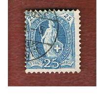 SVIZZERA (SWITZERLAND) -  SG 207   -  1882  STANDING HELVETIA 25 BLUE  - USED - Used Stamps