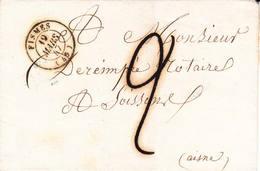 Cachet Type 15 Et Marque Manuscrite 2 Décimes Sur LSC De Fismes (Marne) - Postmark Collection (Covers)