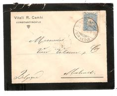2538/ Mourning Cover Vitali R.Camhi Constantinople 1905 Sirkedji To Belgium Malines Arrival Cancellation - 1858-1921 Ottoman Empire