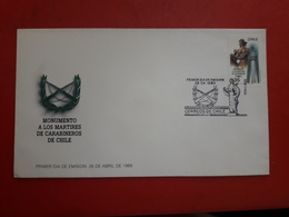 Le Chili FDC Un Monument Aux Martyrs Des Carabiniers - Politie En Rijkswacht