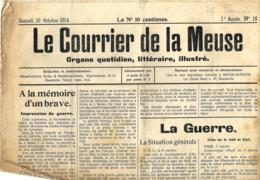Le Courrier De La Meuse  10/10/1914   Publié à Maastricht - Journaux - Quotidiens