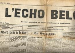 L'Echo Belge  15/11/1914   Publié à Amsterdam - Journaux - Quotidiens