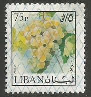 Lebanon - 1978 Grapes O/print 75pi  MNH **    Mi 1274  Sc C778 - Lebanon