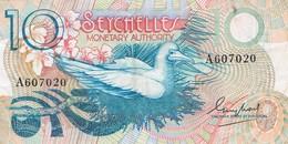 BILLET DE 10 RUPEES - Oiseau - Jeune Fille Cueillant Des Fleurs - Seychelles