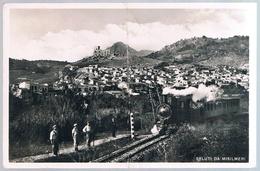 B3185 - Palermo, Misilmeri, Saluti Da Misilmeri Con Treno In Primo Piano,viaggiata 1942, Piega Centrale - Palermo