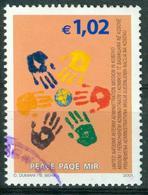 BM UNO Kosovo 2002   MiNr 15   Used   Frieden Im Kosovo, Handabdrücke Um Weltkugel - Gebraucht