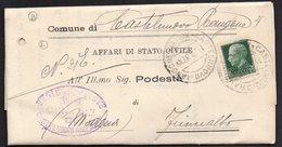 ITALY ITALIA 1937. Historical Documents Envelope Use By The Municipality Of FIUMALBO CASTELNUOVO RANGONE - Documents Historiques