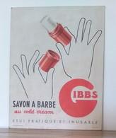 Ancienne Plaque Publicitaire Originale En Carton - SAVON A BARBE GIBBS - Illustrateur - Plaques En Carton