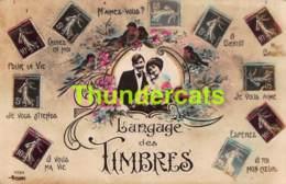 CPA LANGAGE DES TIMBRES FRANCAISES FRANCE PHOTO MONTAGE - Timbres (représentations)