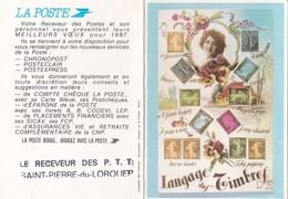 Calendrier 1987 Langage Des Timbres Belle Illustration De La Poste St Pierre Du Lorouer En Sarthe - Petit Format : 1981-90