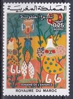 Marokko Morocco 1975 Gesellschaft Woche Des Kindes Kinder Children Kinderzeichnungen Paintings, Mi. 809 ** - Marokko (1956-...)