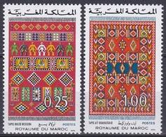 Marokko Morocco 1975 Kunsthandwerk Handwerk Handicrafts Teppiche Teppichknüpferei Carpets, Mi. 818-9 ** - Marokko (1956-...)