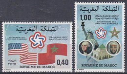 Marokko Morocco 1976 Geschichte History Unabhängigkeit Independence USA Fahnen Flaggen Flags, Mi. 838-9 ** - Marokko (1956-...)