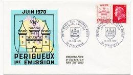 FDC France 1970 - 1ère émission Périgueux - Marianne De Cheffer YT 1643 Du 13/06/1970 - 24 Périgueux (Réf A1078) - FDC
