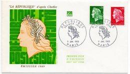 FDC France 1969 -  Marianne De Cheffer  - La République D'après Cheffer YT 1536A & 1536B (Réf A1079) - FDC