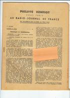 Vichy, PHILLIPE HENRIOT VOUS PARLE AU RADIO-JOURNAL DE FRANCE  DU Mardi  9 Au Lundi 15 MAI 1944 - 1939-45