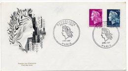 FDC France 1967 -  Marianne De Cheffer  -  République  YT 1535 & 1536 (Réf A1080) - FDC