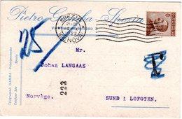 """Italien 1922, 40 C. Auf Karte M. T-Stpl. U. Norwegen Porto-Notierung """"25"""" öre - Italy"""