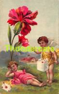 CPA ANGE ANGELOT MESAGE LETTRE FLEUR MESSAGE ANGEL CUPID - Anges