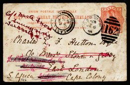 A5685) UK Grossbritannien Karte Cardiff 12/06/01 To Cape Colonie - 1840-1901 (Viktoria)