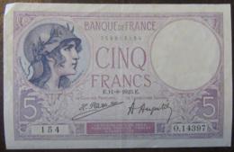 France - Billet 5 Francs Violet 11-8-1923 - SUP - 5 F 1917-1940 ''Violet''