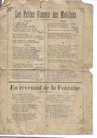 Paroles Anciennes Chansons : Les Petites Femmes Des Mobilisés, La Madelon Des Poilus - Vieux Papiers