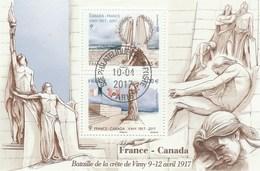 FRANCE 2017 BLOC FRANCE CANADA BATAILLE DE VIMY OBLITERE - F 5136  - - Sheetlets