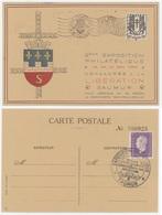Union Philatélique De Saumur Ville Héroique Juin 1940 Les Cadets Août 44 Libération La Crois-Verte Montreuil -Bellay - Postmark Collection (Covers)