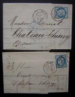 Orléans 1876 Comptoir D'escompte Richault, Lot De Deux Lettres (papier Pelure) - Marcophilie (Lettres)