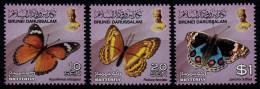 (020) Brunei  Butterflies / Papillons / Schmetterlinge / Vlinders  ** / Mnh  Michel 787-89 - Brunei (1984-...)