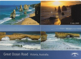 CPM AUSTRALIE VICTORIA  Great Ocean Road Vues Différentes Avant Et Après L'effondrement De Rochers - Australie