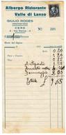ALBERGO HOTEL VALLE DI LANZO CERES - RICEVUTA ORIGINALE ANNI '30 - Italy