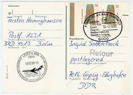 """Erster Postflug Frankfurt - Leipzig 1990 "" Postkarte Nr. 1399 MEF Eckrandmarken - BRD"