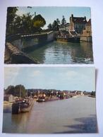 BRIARE Et MONTARGIS (45) : LA LOIRE Et Le CANAL De BRIARE, Péniches De Type Freycinet  - Lot De 2 CPM - Voir Les 2 Scans - Briare
