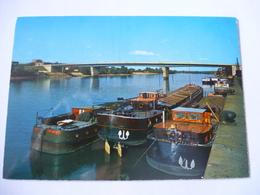 ELBEUF (76) : La SEINE, Le Pont JEAN JAURES, Péniches De Type Freycinet - Voir Les 2 Scans - Elbeuf