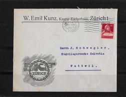 HEIMAT ZÜRICH → Brief W.Emil Kunz (SKF-Zürich) Nach Wattwil 1917 - Schweiz